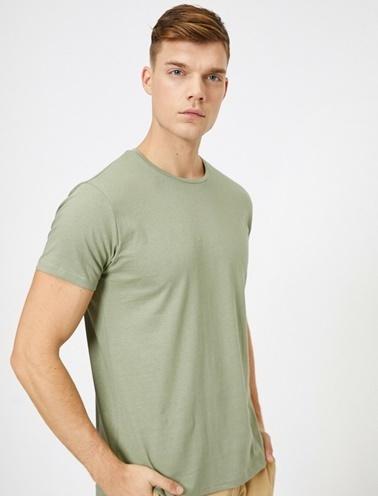 Koton Kisa Kollu Yuvarlak Yaka %100 Pamuk T-Shirt Yeşil